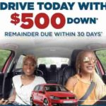 500 down payment car lots near me